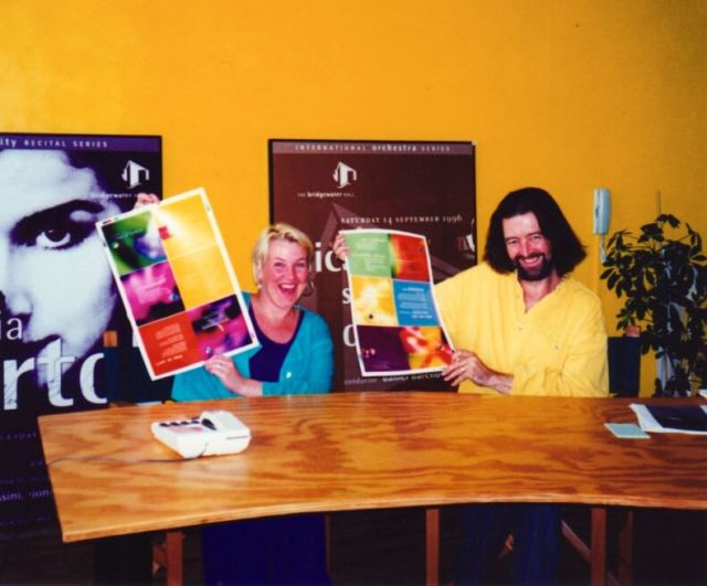 Summer 1997, approving the proof for our brochure.