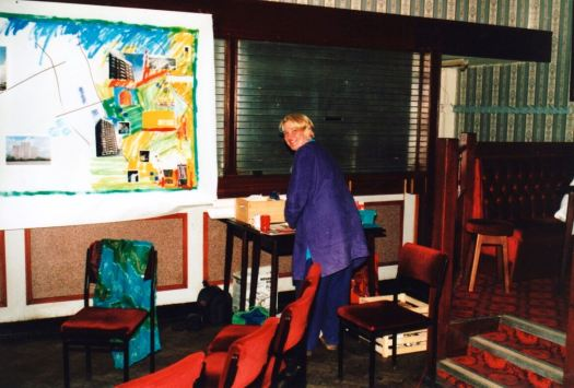 Straight back from our honeymoon to beginning a collage in a British Legion club in Norris Green.