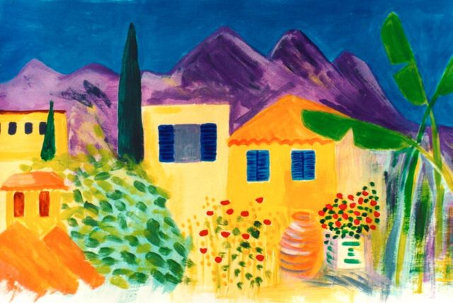 Sarah's painting of Stoupa in Greece, where we go for our honeymoon.