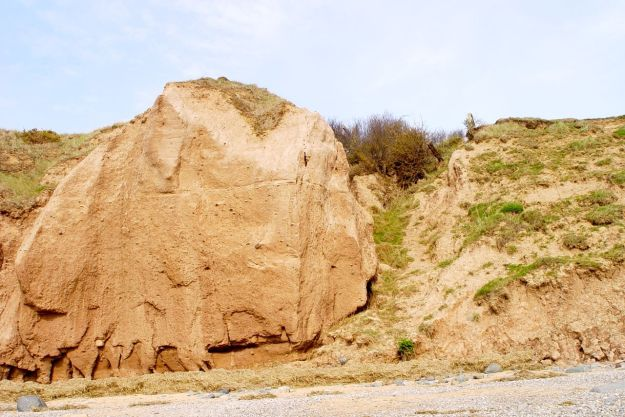 The same cliff on a sunny day in April.