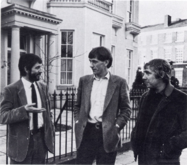 The Shelter boys: Dave Bebb, Neil McIntosh (then Director) and Des Wilson (founding Director0 outside Falkner Square, late seventies.