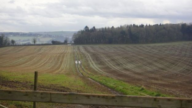 Ploughed fields viewed from the path up to Dartington.