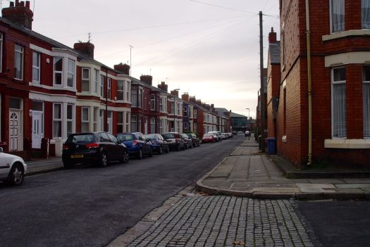 In a typical urban street. Start from your own front door. Go either way.