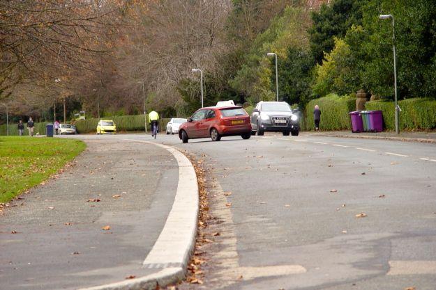 Crossing the perimeter road again. Beware 'learner driver and impatient Audi situation.'