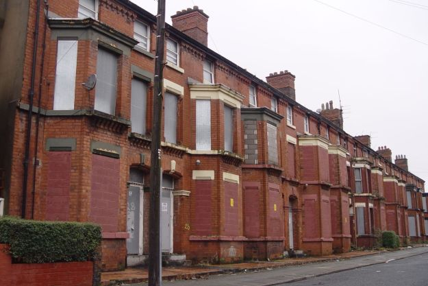 Then round the corner into Kelvin Grove. Why are these houses all tinned up?