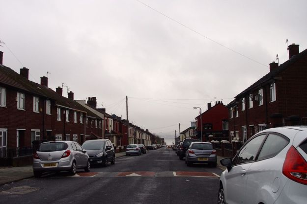 Streets of terraced houses being happily lived in.