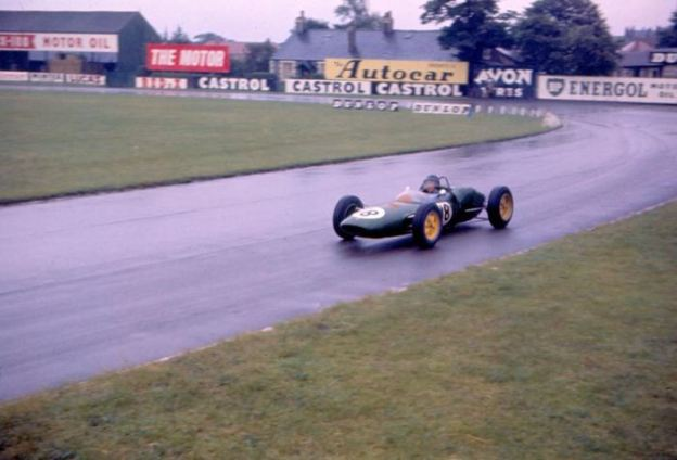 Jim Clark, driving at Aintree, 1961.