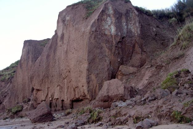 Serious and very recent erosion to the sandstone cliffs.