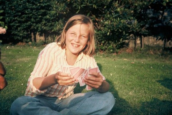 Eleven year old Sarah in the garden at Criccieth.