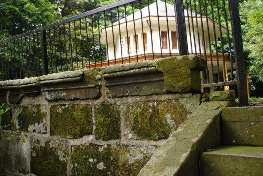The steps in 2013. A disused café in the place of Otterspool House.