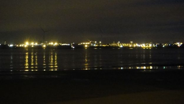 The lights of the Container Port at Seaforth.