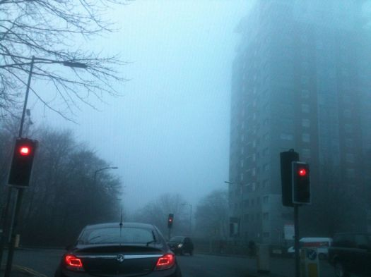 Lodge Lane corner, in the fog.