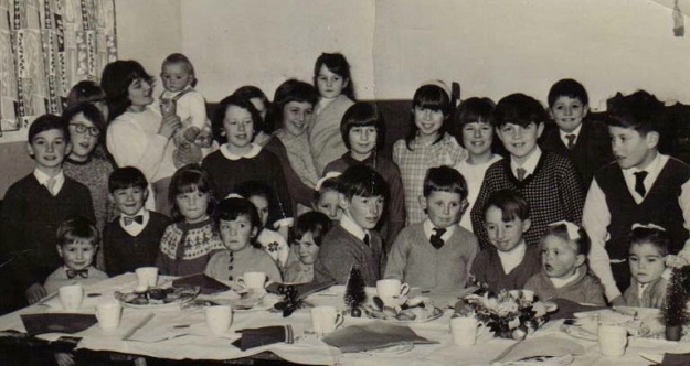 There weren't this many there. But it will have looked much like this, a childrens party in the 1960s.