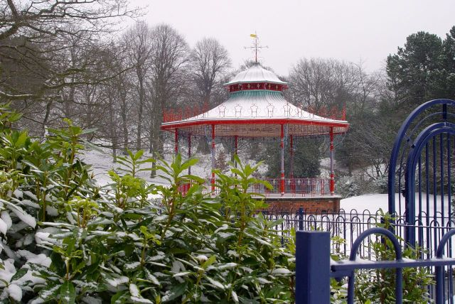 The Bandstand in the snow.