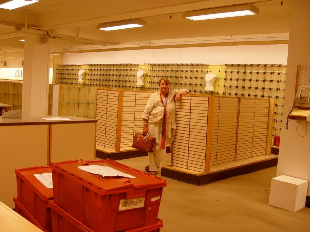 In her beloved Haberdashery Department, all packed up. The shop will close tomorrow.