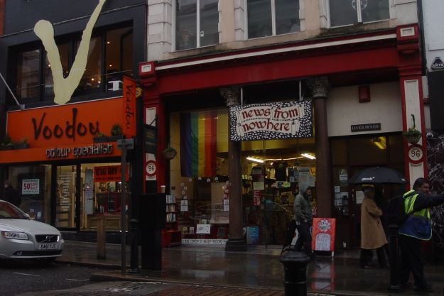 News From Nowhere bookshop. And next to it? 'Next to Nowhere' vegan café!