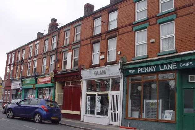 Unchanged, Penny Lane Cakes with the maroon shutters, opposite Dovedale Towers.