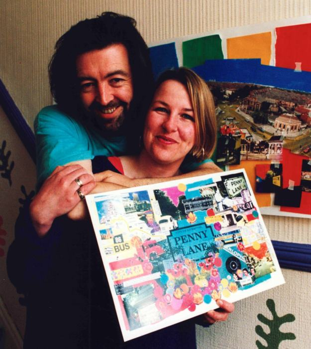 We have history here. Us with Sarah's collage of the place and the song in 1996.