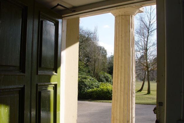 Calderstones Mansion House, the door is opening.
