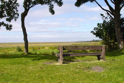 The bench at Denhall Quay, overlooking the marshlands of the Dee Estuary.