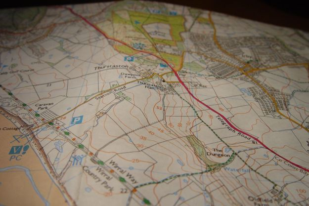 The O.S. map of Thurstaston Common and the Shining Shore.
