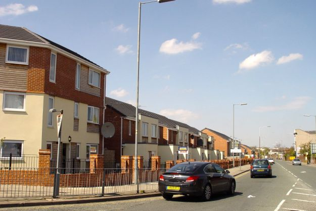 Nearby, some of the relatively few new homes that did manage to get built before 'austerity' slammed in.