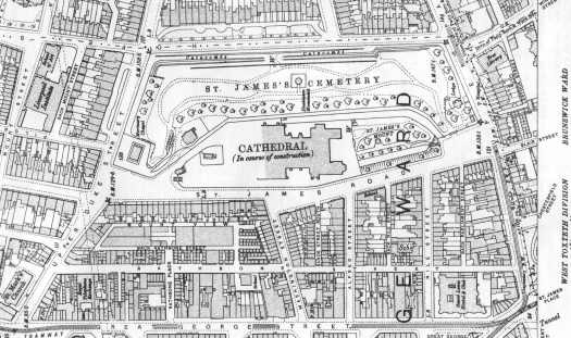 1908 OS map, showing the streets then around the Cathedral.