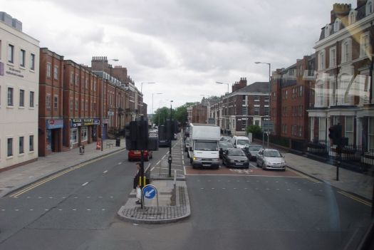 Turning into Catharine Street, Percy Street visible on the left.