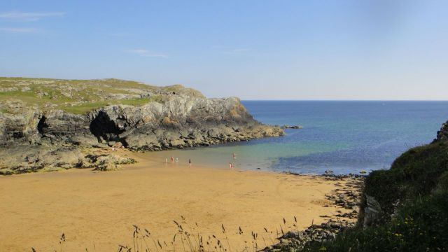 The beach at Porth Dafach.
