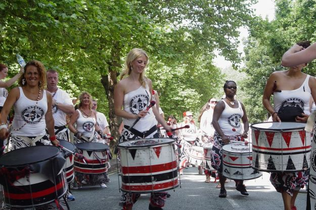 The mighty Batala. We'll be following them all the way round to Princes Park.