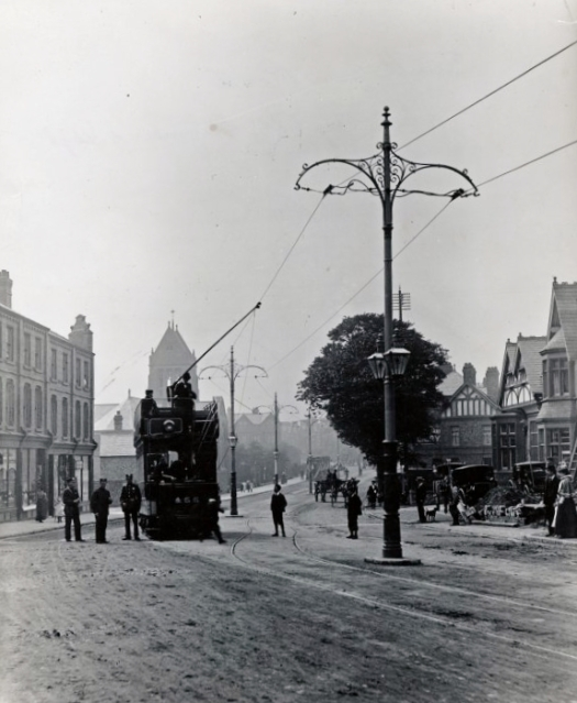 On Smithdown Road, outside the Brookhouse, late 1890s when the trams were new.