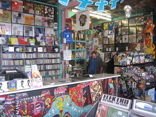 A record shop, with LPs. Probe Records, Liverpool.