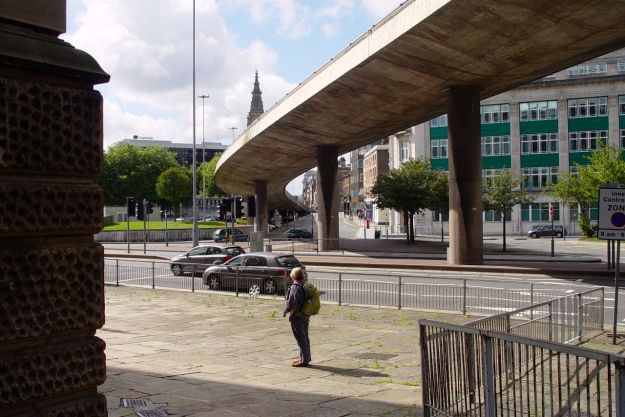 Emerging from all that we reach a 'proper' pavement. And the flyover sweeps down into Dale Street, at the side of the Mersey Tunnel.
