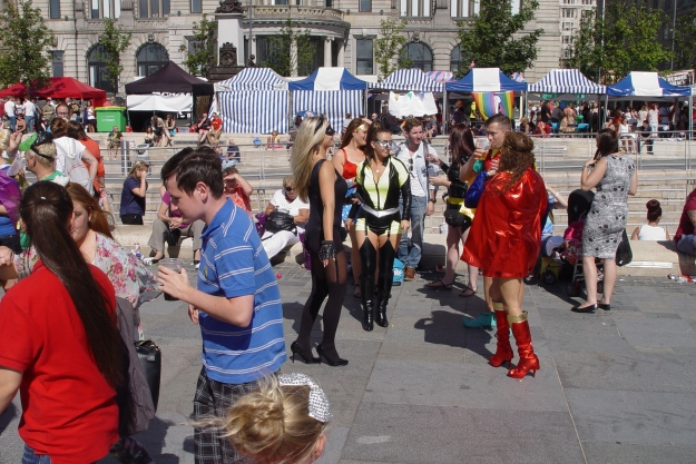 There's been a parade earlier on, and everyone was asked to come dressed as super heroes.