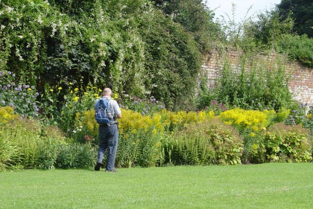 Stephen in the Walled Garden, Allerton Towers.