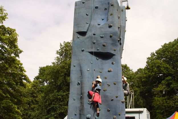 A climbing wall.