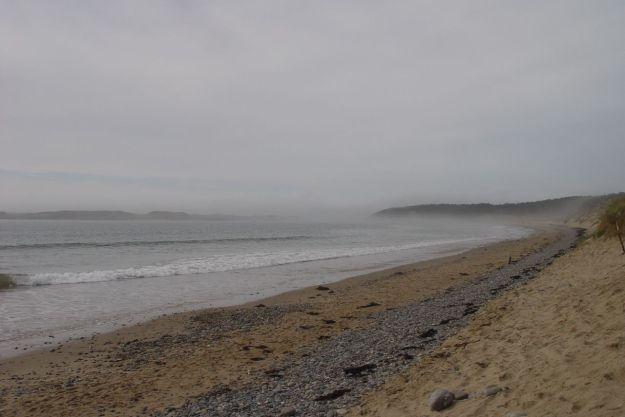 Looking towards the destination of our walk, Ynys Llanddwyn, the haar is thickening.