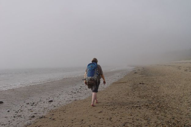 Undeterred, brave Sarah walks into the mist, as if off the edge of the known universe.