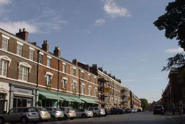 Peering up pavement café Falkner Street. All well there.