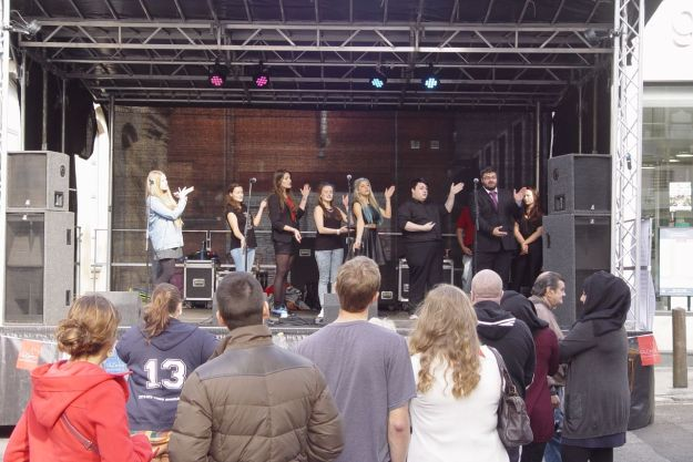 Singing from the Liverpool City College.