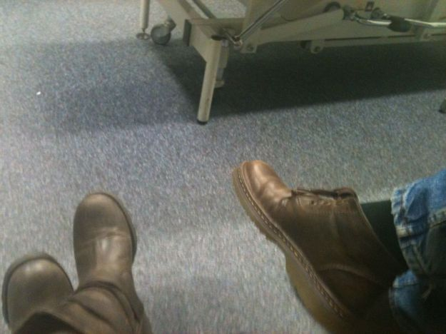 Feet in a hospital.