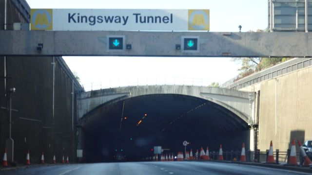 Which now starts calling itself the 'Kingsway Tunnel'. Don't worry though, you're still on the right road!