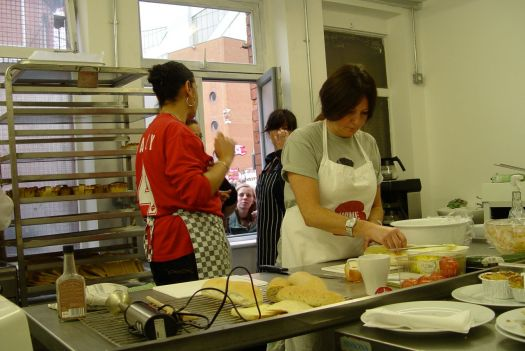 A busy kitchen and constant business at the 'Pie Hole'