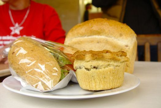 Here is my own stash. A cheese salad roll, a cheese and mushroom pie, and one of the multi-grain loaves I bought.