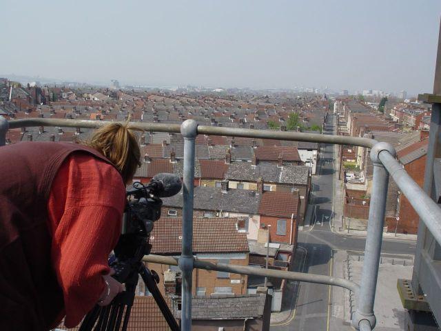 Sarah filming.
