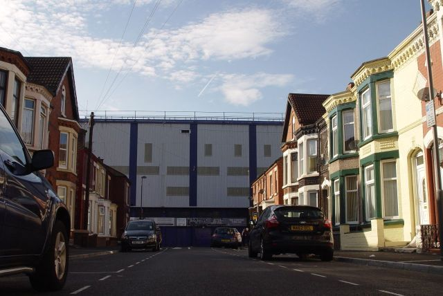 Because at this end of the street is Goodison Park, the ground of Everton Football Club.