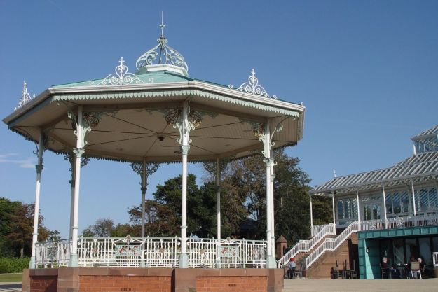 The recently restored Isla Gladstone glass-house and bandstand.