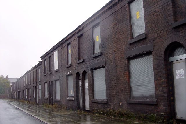 Powys Street, painted up 'old' as a film set.