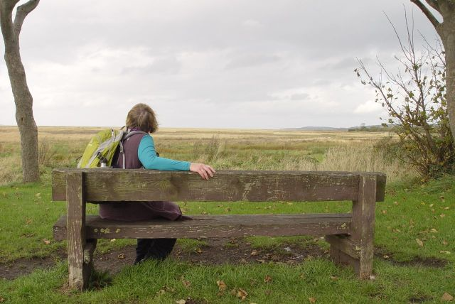 Sarah looking out over the marsh, where the River Dee used to flow, before it silted up, as well as having its course changed so that this high upstream it flows over on the Welsh side of the estuary.