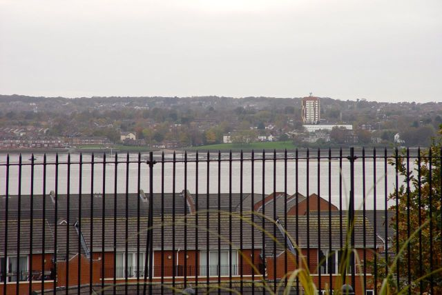 New Ferry on the Wirral shore if the Mersey, from the Dingle.